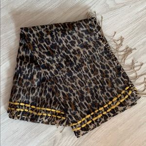 Tory Burch Leopard Scarf with Yellow Detail